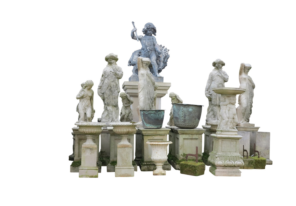Buy Old Antique Original Stone Garden Statues, Benches, Figures & Old Weathered Vintage Pots or Planters Reclaimed From Gardens in the UK available at UKAA.