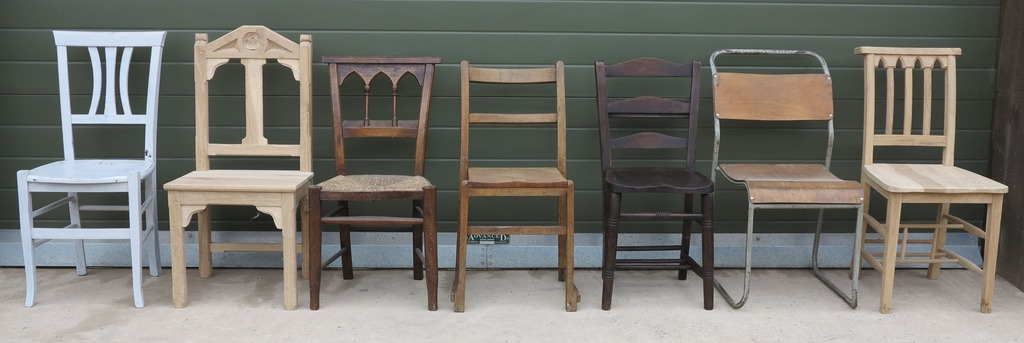 Reclaimed and Antique Wooden Church and Chapel Chairs Ideal for use with  Kitchen and Dining Room - Antique Church Chairs, Stacking Chapel Seating And Stools
