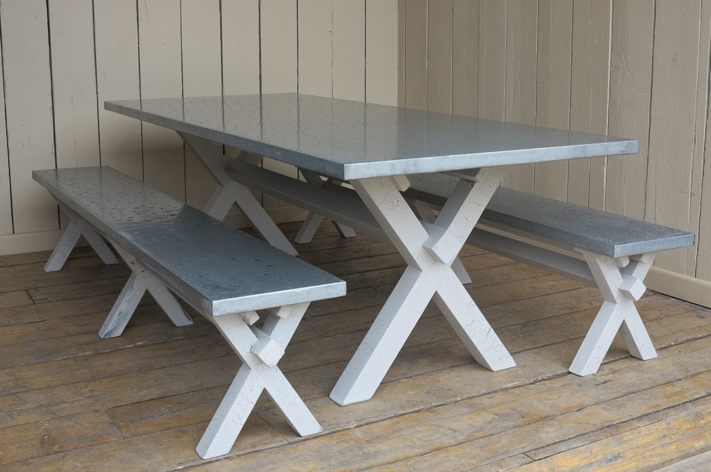 Handmade Zinc Bespoke Tables and Benches ideal for kitchens dining rooms or restaurants, bistos and cafes