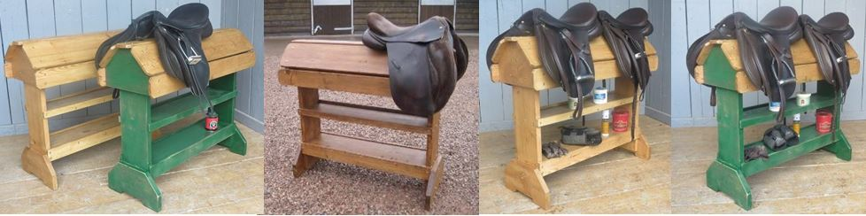 Custom Built Bespoke Saddle Racks Made from Reclaimed Wood such as Pine at UKAA, Timber Bases can be Waxed or Painted in a Bespoke Colour