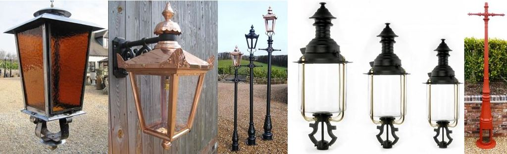 Traditional Antique Original & Reproduction Outdoor Garden or Driveway Lighting Metal Lanterns and Cast Iron Lamp Posts for Sale at UKAA