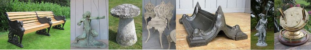 Reclaimed and Antique Garden Items for Sale such as Vintage Benches, Salvaged Statues, Fountains and Water Features, Planters Urns and Troughs