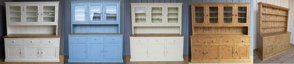Bespoke and Handmade Reclaimed Pine Kitchen Dressers and Display Cabinets Ideal For Country Style Rustic and Vintage Kitchens