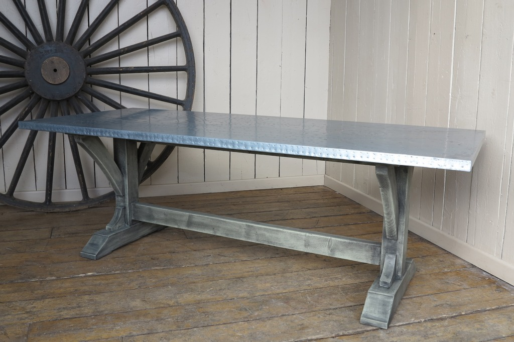 Here at UKAA we have a selection of ready made tables in stock. The selection includes reclaimed timber country style tables and also metal top tables which include brass, copper and zinc on a range of bases