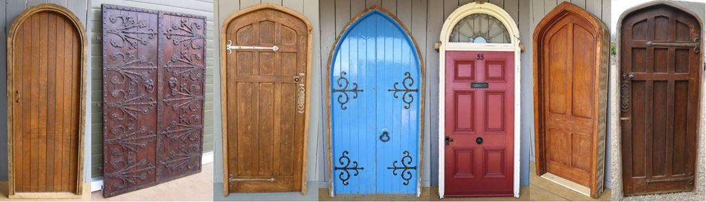 Original Reclaimed Antique Victorian or Vintage Front Doors such as  Panelled Doors, Gothic Arched Doors - Reclaimed And Salvaged Doors In Oak, Pine And Iron For Sale.