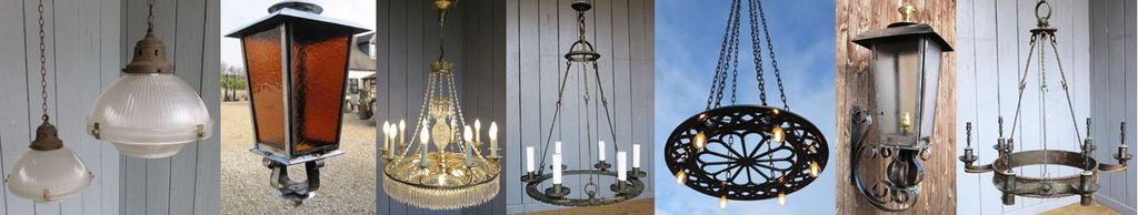 Traditional Antique Reclaimed Lighting such as Chandeliers, Gothic Church Lighting, Floor Standing Lamps and Vintage Lighting such as Enamelled Wall Lights