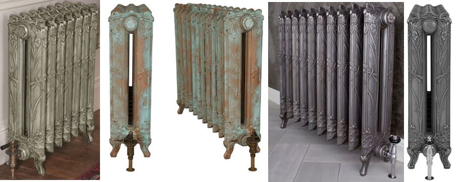 Traditional Reproduction Cast Iron Column Dragonfly Design Radiator by Carron with an Ornate Intricate Design in the Castings, Ideal for Victorian homes.