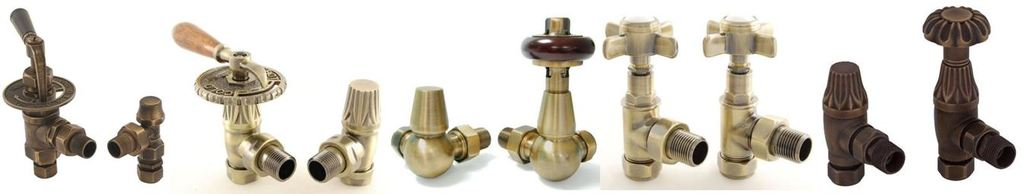 Buy Online Antique Brass Finish Traditional Manual Radiator Valves in an Old Fashioned Design Perfect For Victorian Cast Iron Radiators and Towel Rails