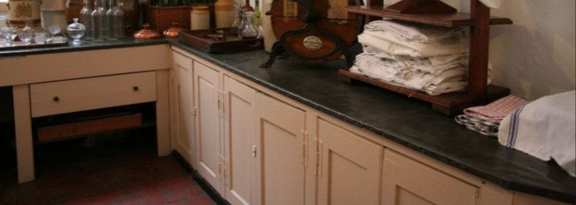 Old Antique Natural Metal Zinc Worktops At Shugborough Hall are a Traditional Style Ideal for Country Estates and are Very Hard Wearing and Practical