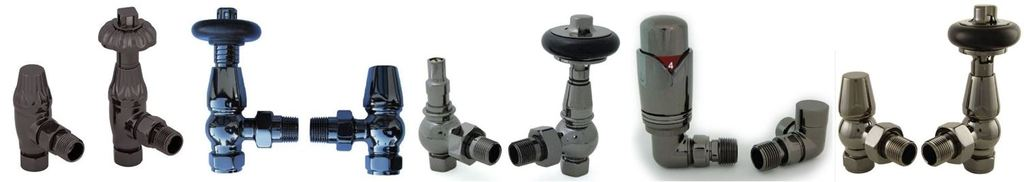 Purchase Online Old Fashioned Black Nickel Finish Thermostatic Radiator Valves and Lockshield Set | Ideal for Traditional Cast Iron Column Radiators