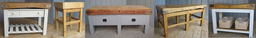 Traditional Reclaimed and Original Butchers Blocks and Butchers Tables for Sale at UKAA ideal to use for a Kitchen Island or Kitchen Work Space.
