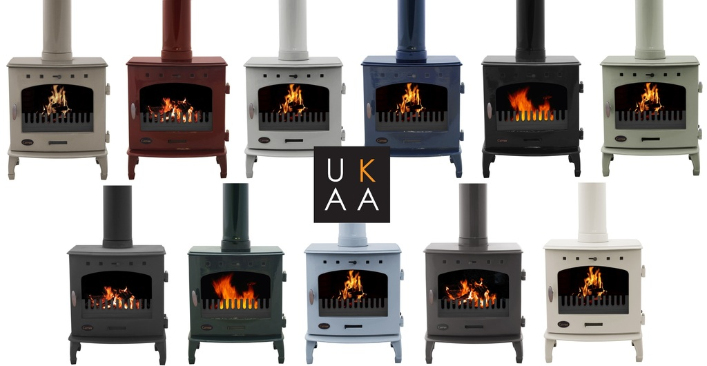 Carron 4.7Kw & 7.3Kw Wood Burning Enamel Stoves Are Ideal for Smoke Exempt Zones and are Available in a range of Finishes such as Cream, Red, Green or Black