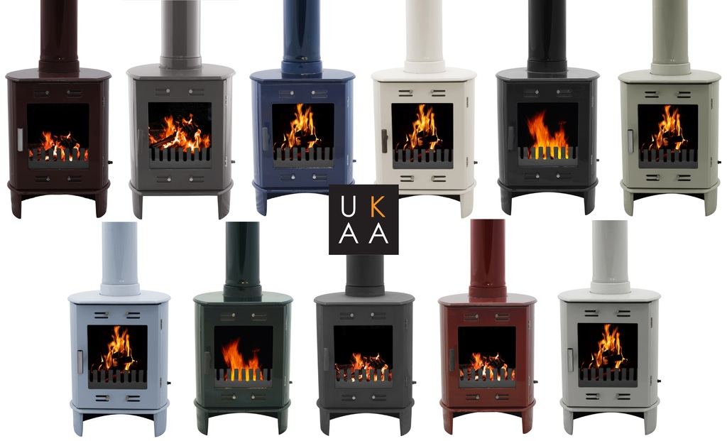 Carron 5Kw Enamel Stoves can be used in Smoke Except zones and are Available in a Range of Colours Such as Purple, Red, Blue, Black, Green and Cream