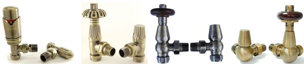 Buy Thermostatic Radiator Valves in a Antique Brass Finish Which are Perfect for Old Fashioned Cast Iron Radiators Online, From Our Showroom or Via a Mobile
