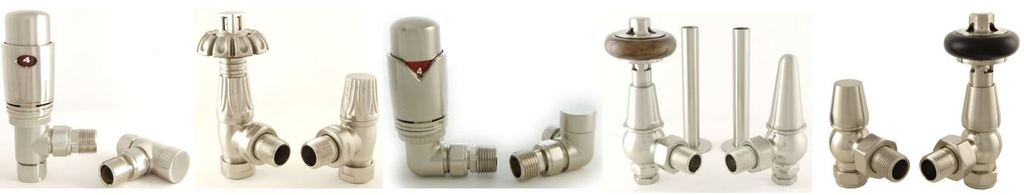 View and Buy Angled Thermostatic Trv Radiator Valves Such as Faringdon Style in a Satin Nickel Finish are Ideal for Cast Iron Radiators and Towel Rails