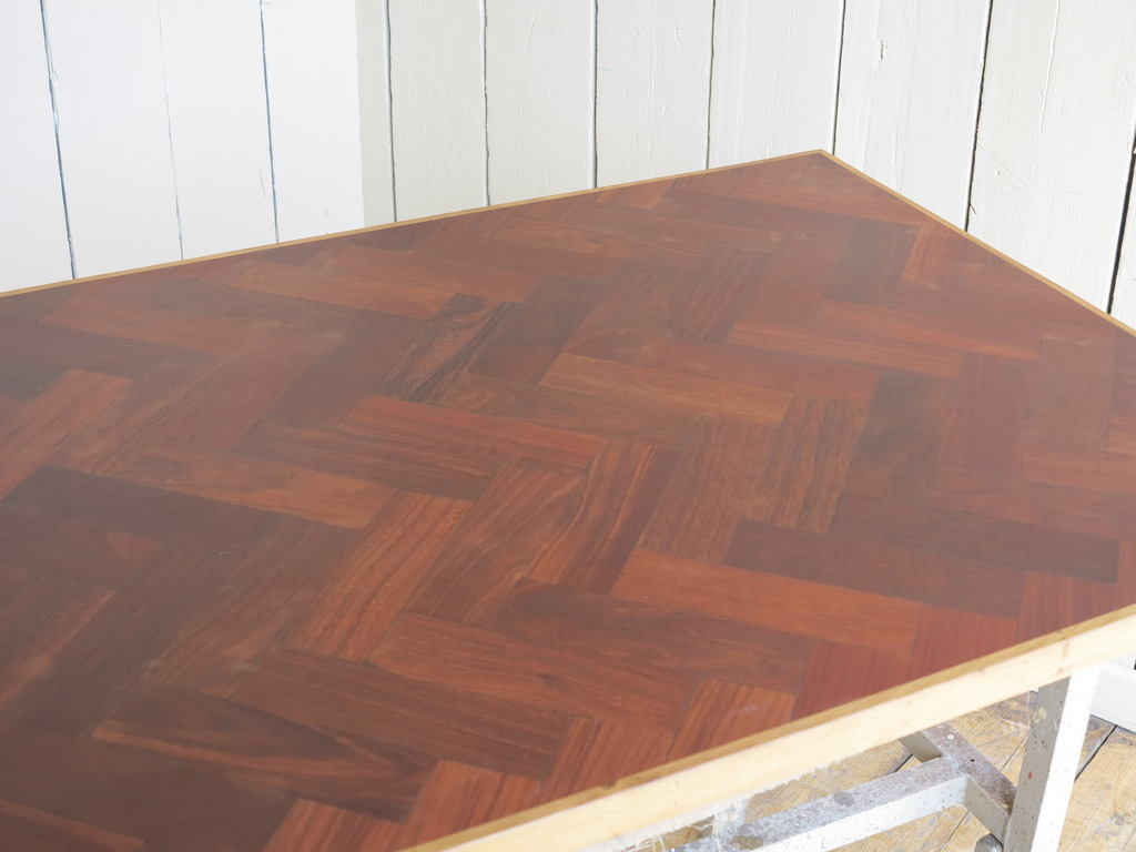 Reclaimed Parquet Wooden Table Top in a Herringbone Pattern ideal for commercial use in pubs & bars or kitchens