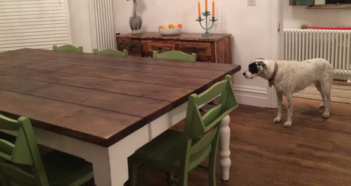 Bespoke Handmade Wooden Kitchen and Dining Tables for Sale at UKAA made from Old Reclaimed Wood with Painted Church Chairs