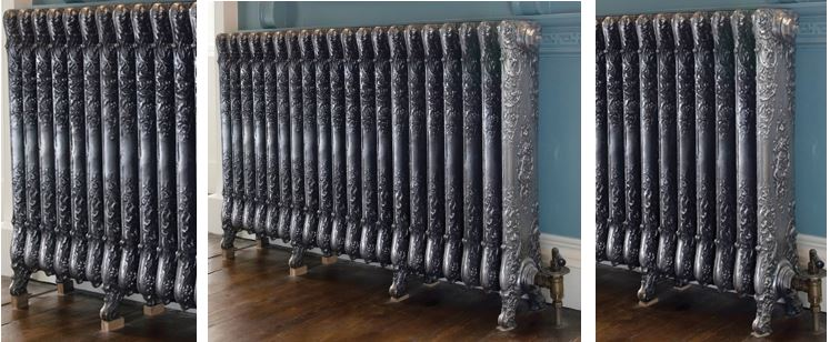 Available to Buy Online Ornate Verona Style Carron Traditional Cast Iron Radiators in Your Bespoke Sizes and Finishes such as Painted or Hand Burnished