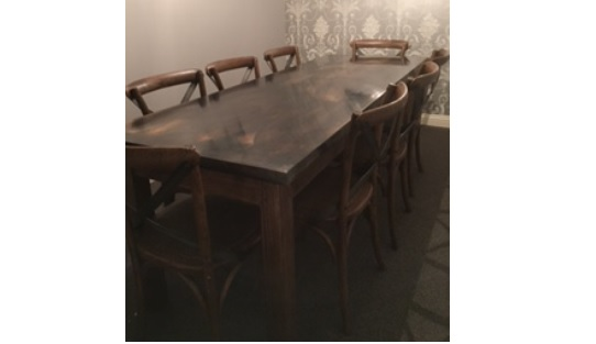 Bespoke Natural Zinc Dining Table availabe for Sale at UKAA Handmade to your specifications Perfect for Kitchens