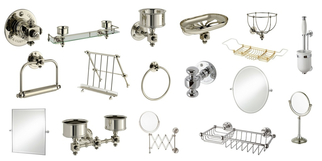 Thomas Crapper Traditional Style Bathroom Accessories such as Mirrors, Towel Rings, Paper Holders &Soap Dishes are available in Nickel, Brass and Chrome