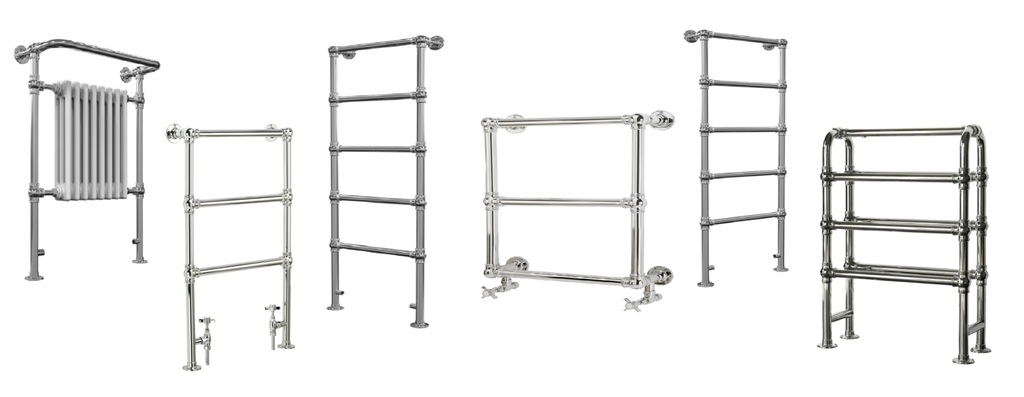Thomas Crapper Traditional Towel Rails in Ladder and Curved Designs are Available in Chrome, Nickel and Brass a