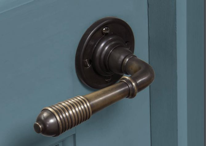 Solid bronze lever door handle, forged 'From the Anvil' range. Matching escutcheons and thumb turns available