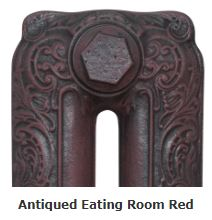 Carron Radiators in Antiqued Eating Room Red Finish