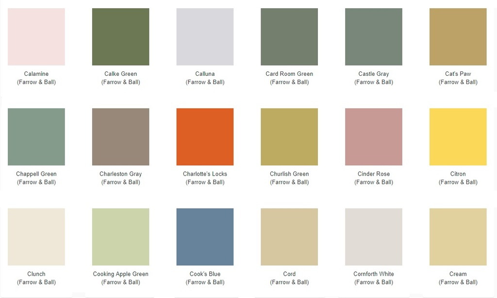 Farrow and Ball Paint Chart For Painting Your Carron Radiators