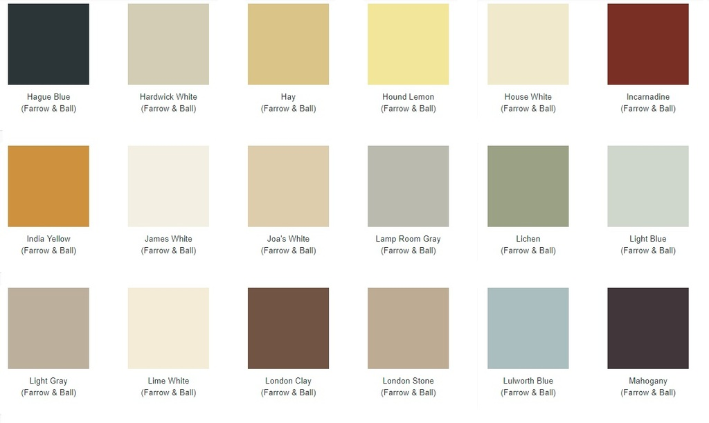 Farrow and Ball Colour Chart for Choosing The Colour of Your Carron Radiators