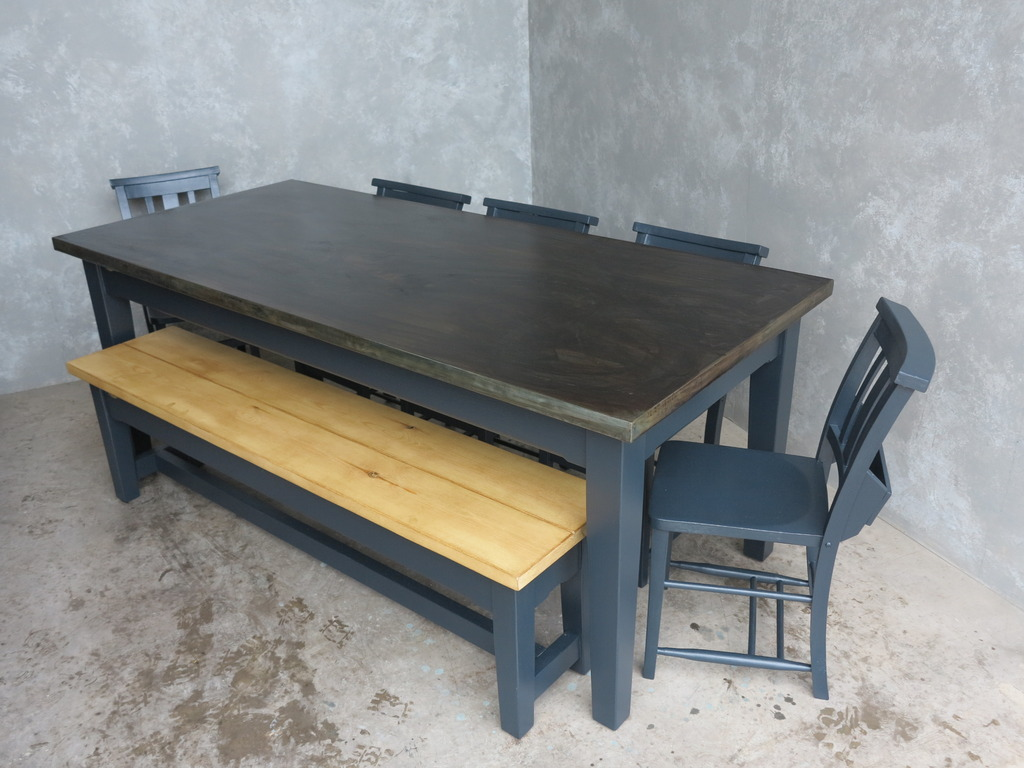 Bespoke Made Natural Zinc Table,Wooden Benches and Painted Antiwue Church Chair sets Available at UKAA
