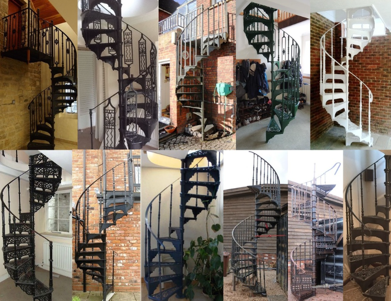 At UKAA we have in stock many reclaimed Vintage cast iron spiral staircases complete and ready to fit. All are available for worldwide delivery