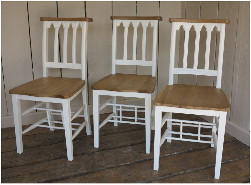At UKAA we have an extensive range of reclaimed Chapel and Church chairs for sale. These chairs are ideal for use with kitchen or dining tables and can be painted in the colour of choice