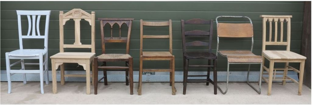 UKAA hold in stock a large selection of Church and Chapel chairs all lovingly restored. The chairs can be painted in a colour of choice or left in their original waxed finish