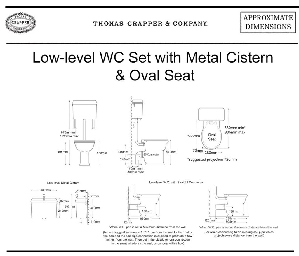 Dimensions Of Thomas Crapper Low Level Cistern in China or Cast Metal in a Victorian Style Available at UKAA