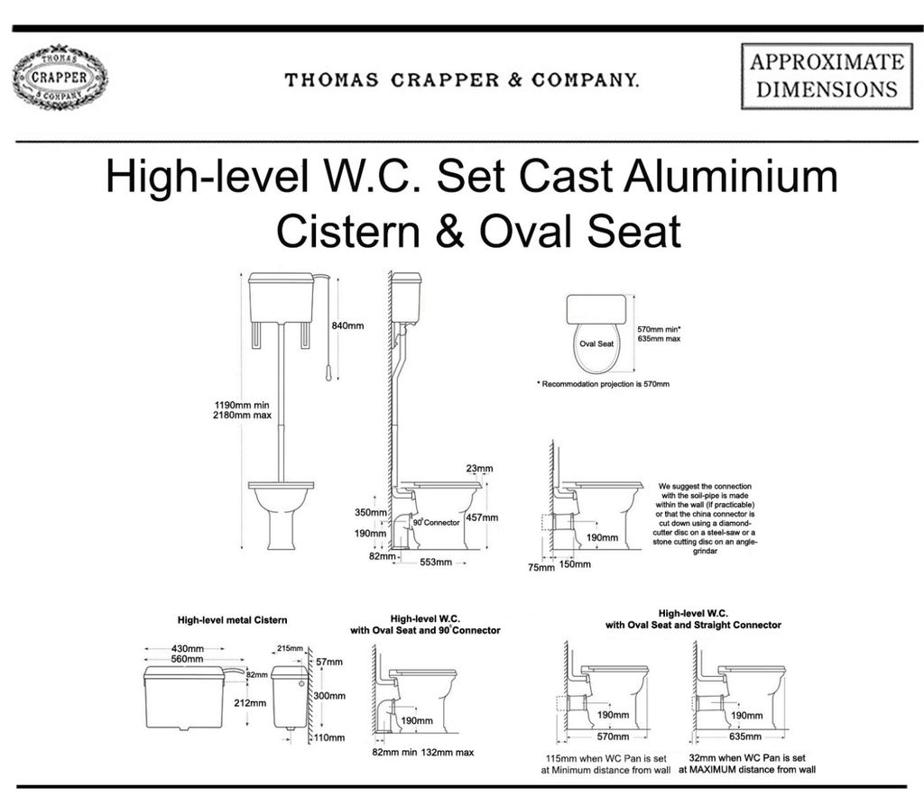 Dimensions Of Thomas Crapper High Level Victorian Style Toilet Cistern Available to Buy at UKAA